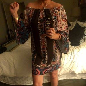 Dress, off shoulder polyester/lining sz small
